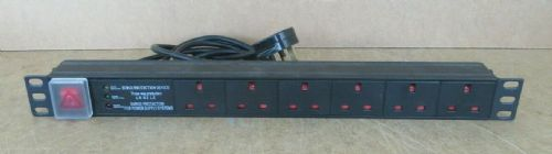 "1U 19"" 6 Way Surge Protected Rackmount UK Mains Outlets Switch PDU 1.8M Lead"